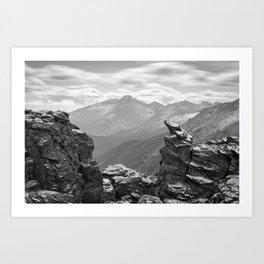 LONGS PEAK BLACK & WHITE COLORADO ROCKY MOUNTAIN NATIONAL PARK LANDSCAPE PHOTOGRAPHY Art Print