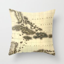 Vintage Map of The Caribbean (1806) Throw Pillow
