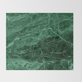 Dark emerald marble texture Throw Blanket
