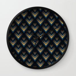 pattern geometric peacock blue Wall Clock