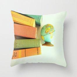 Vintage Books and Globe Throw Pillow