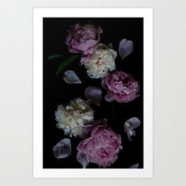 Dark Floral Peony Print 5 Art Print