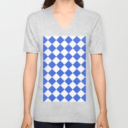 Large Diamonds - White and Royal Blue Unisex V-Neck