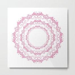 Floral pink mandala Metal Print