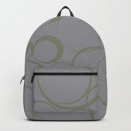 Green and Grey Circle Pattern Pantone 2021 Color of the Year Ultimate Gray 17-5104 Backpack
