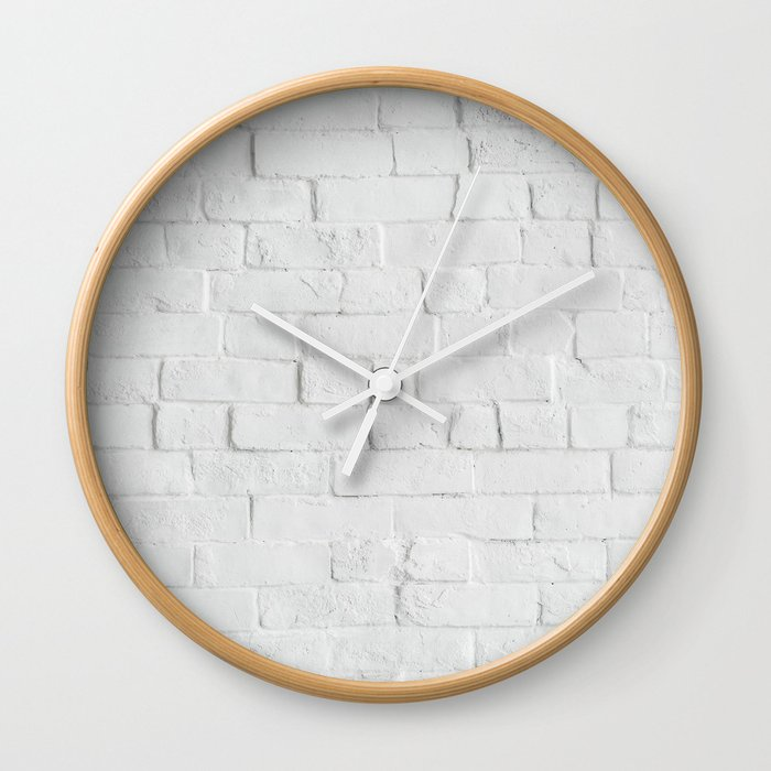 White Brick Wall Photography Wall Clock By Staypositivedesign Society6