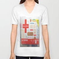 band V-neck T-shirts featuring Band Aid by Robin Curtiss