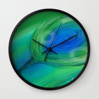 peacock Wall Clocks featuring Peacock by ANoelleJay