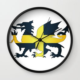 Welsh Dragon Saint David Flag Wall Clock