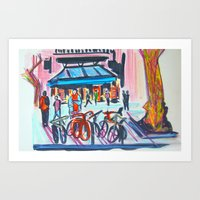 barcelona Art Prints featuring Barcelona by AdaKlein