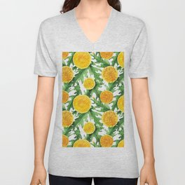 Watercolor Dandelion Pattern in Green and Yellow Unisex V-Neck