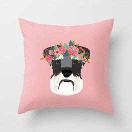 Schnauzer floral crown dog breed pet art schnauzers cute pure breed gifts Throw Pillow