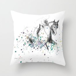 Horse (Rainy canter) Throw Pillow