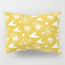 Mid Century Modern Atomic Boomerang Pattern Mustard Yellow Pillow Sham