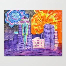Downtown Shreveport -  from Rooftop party- mid 2012 Canvas Print