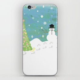 Snowman on Christmas Day iPhone Skin