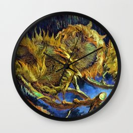 Four Cut Sunflowers - Auvers-sur-Oise Four sunflowers gone to seed by Vincent van Gogh Wall Clock