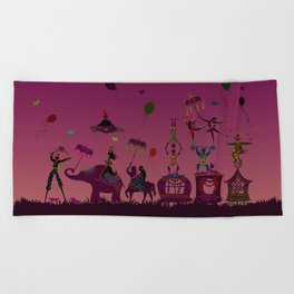 colorful circus carnival traveling in one row at night Beach Towel