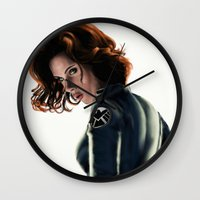 black widow Wall Clocks featuring Black Widow by Christine Tromop