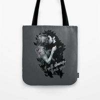 captain swan Tote Bags featuring Once Upon a Time Captain Swan by Cursed Rose