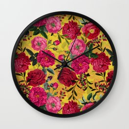 Vintage & Shabby Chic - Summer Tropical Roses Flower Garden Wall Clock