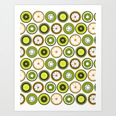 Black Border Fruits Art Print