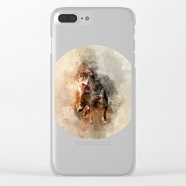 Dog running watercolor Clear iPhone Case