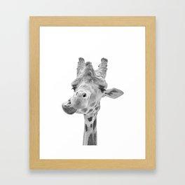 Love my giraffe - mono Framed Art Print