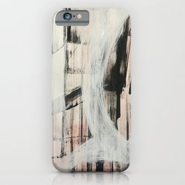 Sweet Tart [2]: a minimal abstract mixed-media piece in pink black and white by Alyssa Hamilton Art iPhone Case