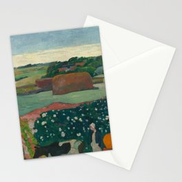 Haystacks in Brittany Oil Painting by Paul Gauguin Stationery Cards