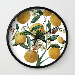 Lemon Tree Water Color Painting Wall Clock