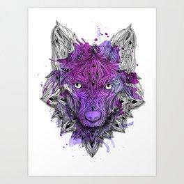 Ornament Wolf - Purple Aquarell Art Print
