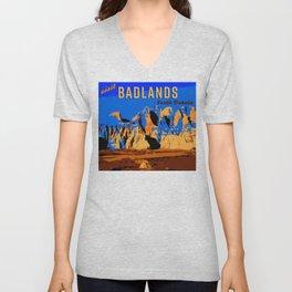 Visit Badlands Retro Postcard Unisex V-Neck