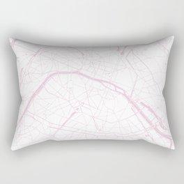 Paris France Minimal Street Map - Pretty Pink and White Rectangular Pillow