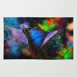 Blue Morpho Butterfly With Many Colors By Annie Zeno  Rug