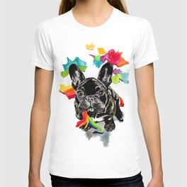 When a dog catches a rainbow T-shirt