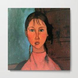 "Amedeo Modigliani ""Girl with Braids"" Metal Print"