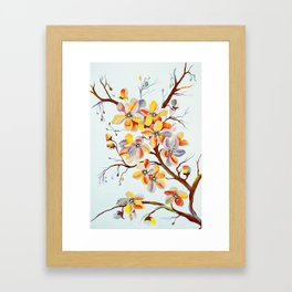 Japanese Cherry Tree Flowers, cherry blossom branch Framed Art Print