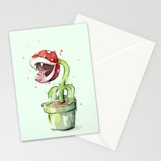 Piranha Plant Watercolor Geek Gaming Mario Art Stationery Cards