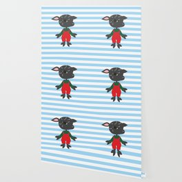 Cute black sheep. Cartoon style animal character illustration. Wallpaper