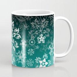 Symbols in Snowflakes on Winter Green Coffee Mug