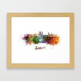 Sucre skyline in watercolor Framed Art Print