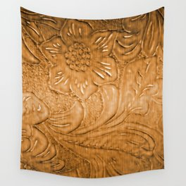 Golden Tan Tooled Leather Wall Tapestry