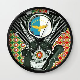 Portuguese Flag Biker Collage Wall Clock