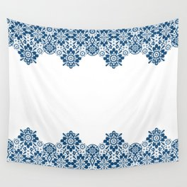 Blue lace on white background . Wall Tapestry