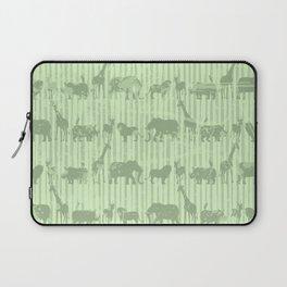 Distressed Jungle Theme Animal Safari Green Elephants Lions Giraffes Rhinos on Stripes Laptop Sleeve