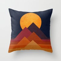 mountain Throw Pillows featuring Full moon and pyramid by Picomodi