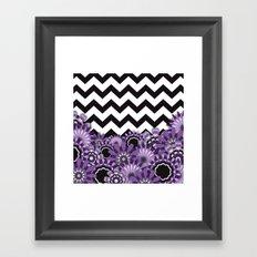 Purple Flower Chevron Framed Art Print