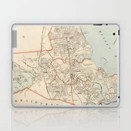Vintage Map of Quincy MA (1907) Laptop & iPad Skin