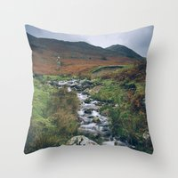 cassia beck Throw Pillows featuring Cinnerdale Beck with Whiteless Pike beyond. Lake District, UK. by liamgrantfoto